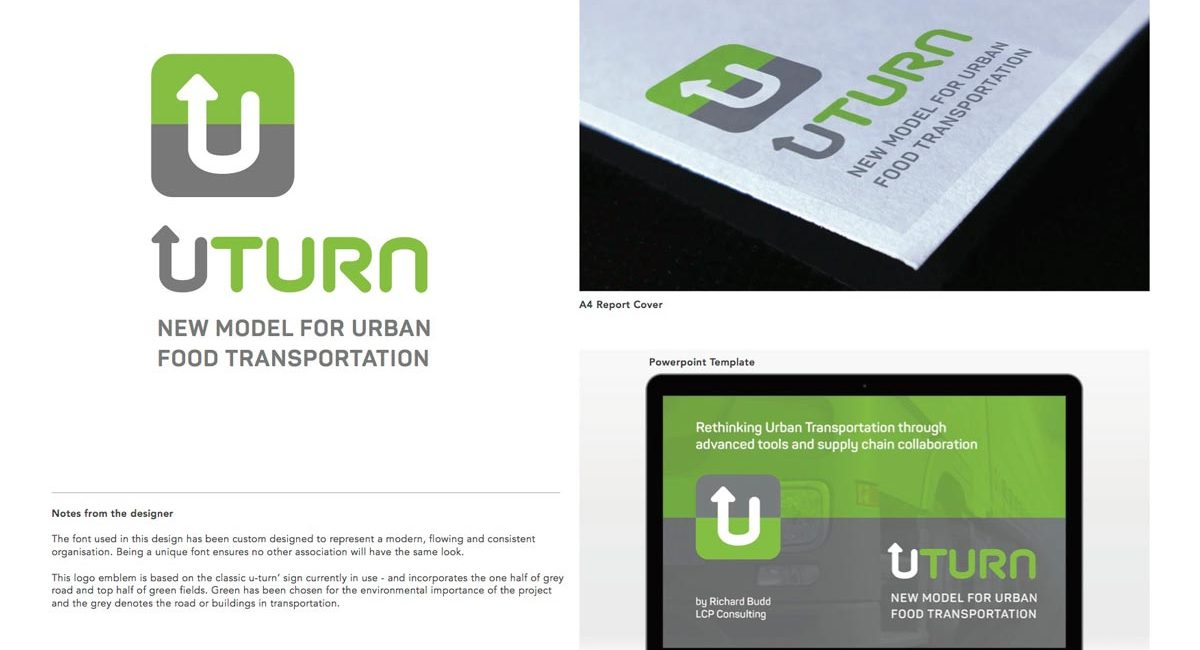 U-Turn Logo options ? with mock-ups for a report cover and presentation